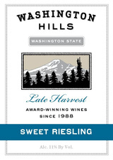 Washington Hills Late Harvest Sweet Riesling 2010