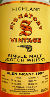 Glen Grant bottled by Signatory Single Malt Scotch Whisky 1997