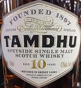 Tamdhu Distillery Fine Single Malt Scotch Whisky 10 year old