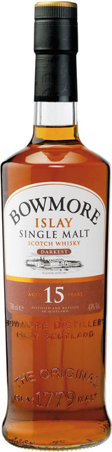 Bowmore Distillery Single Malt Scotch Whiskey Darkest 15 year old