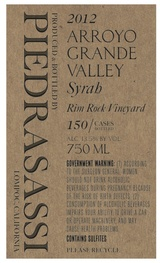 Piedrasassi Arroyo Grande Valley Rim Rock Vineyard Syrah 2012