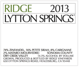Ridge Vineyards Lytton Springs 2013