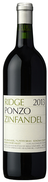 Ridge Vineyards Ponzo Vineyard Zinfandel 2013