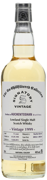 Auchentoshan bottled by Signatory Vintage The Un-Chillfiltered Collection Single Malt Scotch Whisky 1999