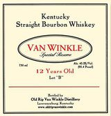 Old Rip Van Winkle Distillery Special Reserve Lot B Kentucky Straight Bourbon Whiskey 12 year old