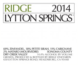 Ridge Vineyards Lytton Springs 2014