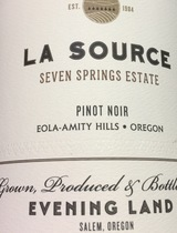 Evening Land Seven Springs Vineyard La Source Pinot Noir 2014