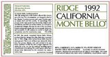 Ridge Vineyards Monte Bello 1992