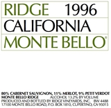 Ridge Vineyards Monte Bello 1996