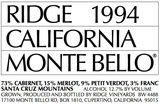 Ridge Vineyards Monte Bello 1994