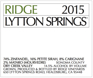 Ridge Vineyards Lytton Springs 2015