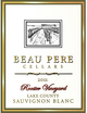 Beau Pere Rooster Vineyard Sauvignon Blanc 2011