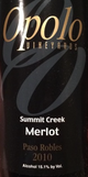 Opolo Summit Creek Merlot 2010