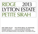 Ridge Vineyards Lytton Estate Petite Sirah 2013