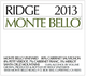 Ridge Vineyards Monte Bello 2013