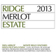 Ridge Vineyards Estate Merlot 2013