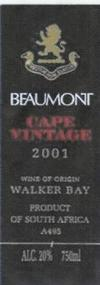Beaumont Cape Vintage Port 2001