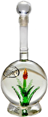 Casino Azul Silver Tequila With Hand Blown Cactus