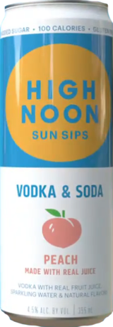 High Noon Spirits Sun Sips Peach Vodka Soda